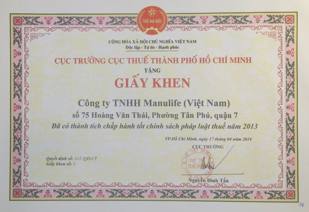 Manulife Vietnam praised for fulfilling tax obligations in 2013