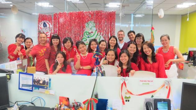 HR Team celebrating Christmas 2014